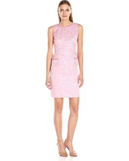 Adrianna-Papell-Womens-Onassis-Tweed-Trimmed-Shift-0