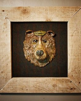 Auld-Bear-A-framed-Hand-Sculpted-head-mounted-on-Tweed-from-the-scottish-Borders-0