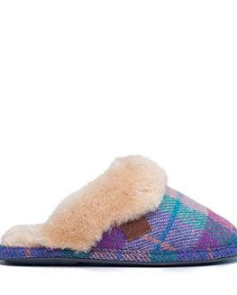 Bedroom-Athletics-Kate-Harris-Tweed-Mule-Slippers-Lilac-Blue-Check-0