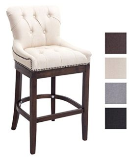CLP-Stylish-Wooden-Bar-Stool-BUCKINGHAM-Dark-Antique-Frame-Armchair-with-Thick-Tweed-Upholstery-0
