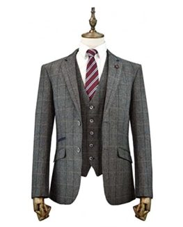 Cavani-Albert-3-Piece-Suits-Check-Tweed-Regular-Fit-Blazer-Grey-Check-0
