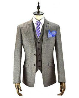 Cavani-Mens-Doyle-3pc-Black-Tweed-Suit-Party-Prom-Wedding-Smart-Tailored-Classic-Tweed-0