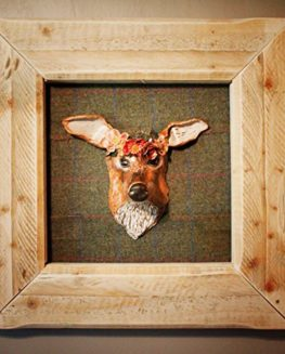 Doe-with-Flowers-A-framed-Hand-Sculpted-head-mounted-on-Tweed-from-the-Scottish-Borders-0