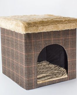Dog-cave-cat-cave-and-seat-tweed-look-50x50x50-cm-indoor-0