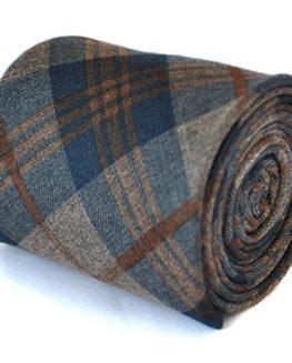 Frederick-Thomas-slim-navy-and-brown-100-wool-tweed-check-tie-0