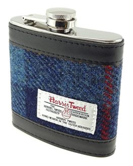 Genuine-Harris-Tweed-Hip-Flask-Stainless-Steel-6oz-Measurement-In-Various-Colours-HF2100-0