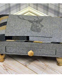 Grey-Deer-Stags-Head-Check-Tartan-Tweed-Fabric-Covered-Footstool-0