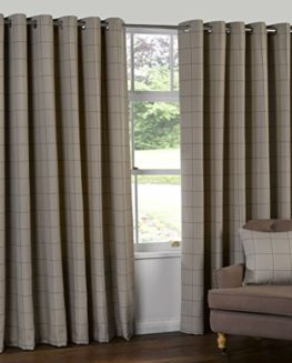 HERRINGBONE-TWEED-Check-Heavy-Lined-Curtains-NATURAL-BEIGE-LATTE-Ideal-Patio-Living-Kitchen-This-Size-0