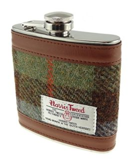 Harris-Tweed-6oz-Measurement-Stainless-Steel-Hip-Flask-8-Colours-Available-0