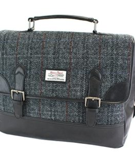 Harris-Tweed-Black-Grey-Tartan-Briefcase-0