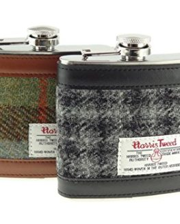 Harris-Tweed-Hip-Flask-Stainless-Steel-6oz-Measurement-In-Various-Colours-0