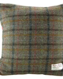 Harris-Tweed-Square-Cushion-with-Velvet-Back-Brown-Check-Colour-Made-in-Scotland-by-Glen-Appin-0