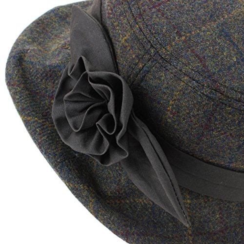 5518f191311 Hawkins Ladies Wool Tweed Cloche Hat with a Wax Band and Flower ...