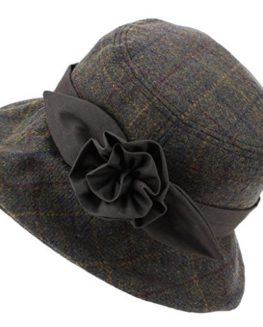 Hawkins-Ladies-Wool-Tweed-Cloche-Hat-with-a-Wax-band-and-Flower-Brown-0