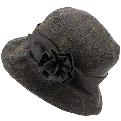 2ae964d4812 Hawkins Ladies Wool Tweed Cloche Hat with a Wax Band and Flower – Brown