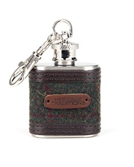 Heritage-Traditions-1oz-Green-Box-Tweed-Hip-Flask-Keyring-Charm-0