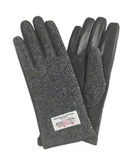 Ladies-100-Harris-Tweed-Leather-Charcoal-Herringbone-Gloves-LB3000-Col1-0
