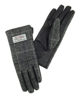 Ladies-100-Harris-Tweed-Leather-Grey-Check-Gloves-LB3000-0