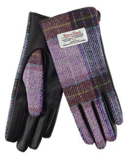 Ladies-100-Harris-Tweed-Leather-PinkGrey-Gloves-LB3000-Col34-0