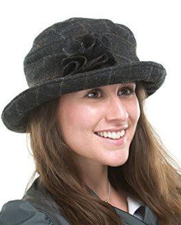 Ladies-Black-Wool-Tweed-Cloche-Style-Hat-Kiera-BL89-0