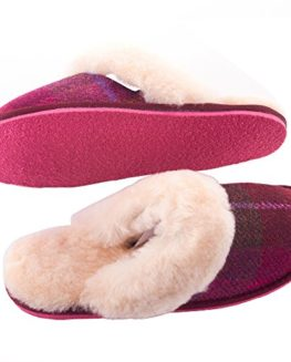 Ladies-Harris-Tweed-Fuschia-Tartan-Slippers-by-Snow-Paw-0