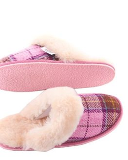Ladies-Harris-Tweed-Pink-Tartan-Slippers-by-Snow-Paw-0