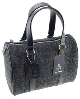 Ladies-Plain-Charcoal-Harris-Tweed-Handbag-With-100-Genuine-Leather-0