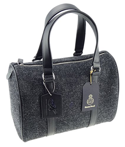 Ladies Plain Charcoal Harris Tweed Handbag With 100% Genuine Leather ... 34989bfb460c4