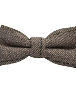 Luxury-Light-Khaki-Brown-Herringbone-Check-Bow-Tie-Tweed-0