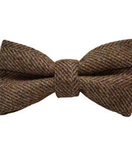 Luxury-Peanut-Brown-Herringbone-Check-Bow-Tie-Tweed-0