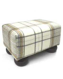 Luxury-Small-Tartan-Footstool-with-Dark-Wood-Bun-Feet-0