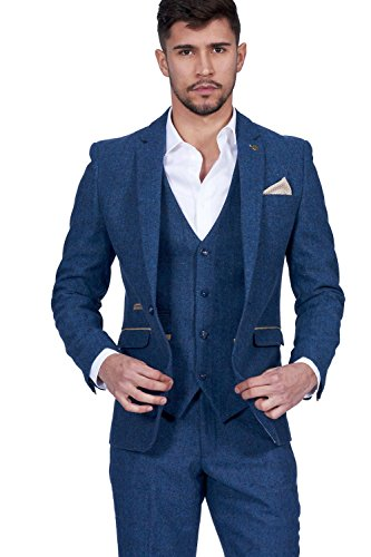 Marc Darcy Mens 3 Piece Slim Fit Blue Tweed Inspired Herringbone Check Casual Business Wedding Suit Formal Blazer Waistcoat And Trousers 34 52