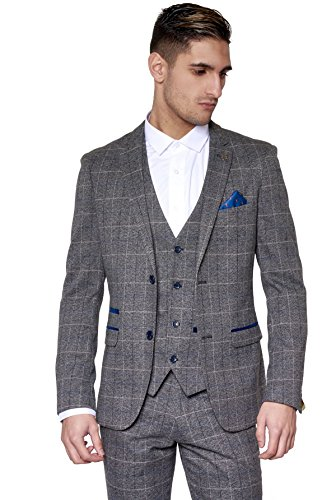 Marc Darcy Mens 3 Piece Slim Fit Grey Check Tweed Inspired Casual Business Wedding Suit Formal Blazer Waistcoat And Trousers 34 52 Available
