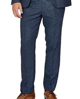 Marc-Darcy-Mens-Designer-Blue-Tweed-Tailored-Trouser-Short-reg-Long-Leg-Available-0