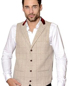 Marc-Darcy-Mens-Designer-Cream-Tweed-Herringbone-Check-Collared-Wool-Waistcoat-Size-34-52-Available-0