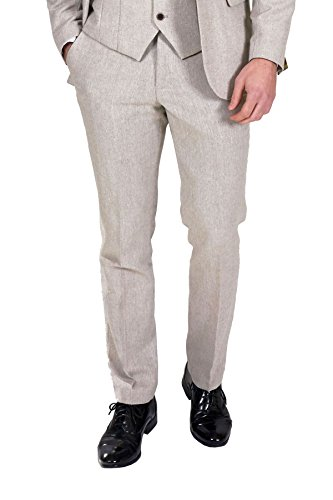 Marc Darcy Mens Designer Cream Tweed Tailored Trouser Work Wedding ... 885d3c0e6429