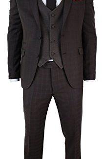 Mens-3-Piece-Brown-Retro-Black-Check-Herringbone-Tweed-Suit-Tailored-Fit-0