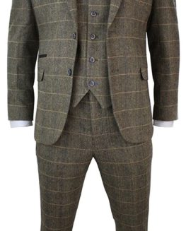 Mens 3 Piece Classic Tweed Herringbone Check Tan