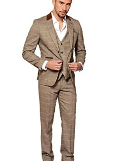 Mens-3-Piece-Marc-Darcy-Slim-Fit-Vintage-Tan-Tweed-Inspired-Check-with-Elbow-Pads-Casual-Business-Wedding-Suit-Formal-Blazer-Waistcoat-and-Trousers-34-52-Available-0