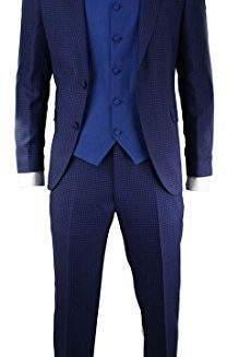 Mens-3-Piece-Purple-Blue-Retro-Check-Herringbone-Tweed-Suit-Tailored-Fit-0