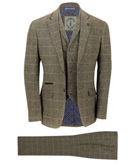 Mens-3-Piece-Tweed-Suit-Vintage-Tan-Brown-Herringbone-Check-Retro-Slim-Fit-Jacket-Waistcoat-Trousers-0
