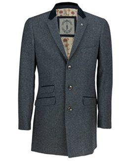 Mens-34-Long-Coat-Wool-Mix-Herringbone-Tweed-Vintage-Slim-Fit-Trench-Overcoat-Winter-Jacket-in-Tan-Olive-Navy-0