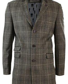 Mens-34-Long-Tan-Brown-Check-Herringbone-Tweed-Crombie-Overcoat-Winter-Retro-0