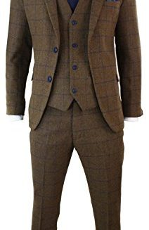 Mens-Brown-Herringbone-Blue-Check-Tweed-Vintage-3-Piece-Tailored-Fit-Suit-Smart-0