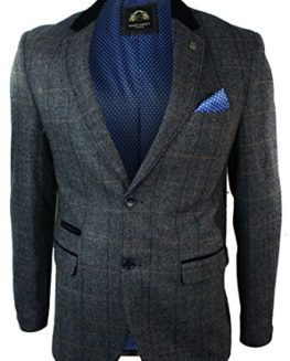 Mens-Check-Vintage-Herringbone-Tweed-Grey-Charcoal-Blazer-Jacket-Fitted-0