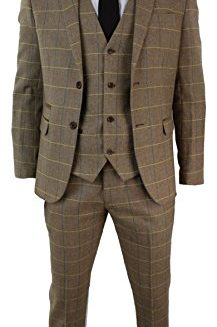 Mens-Check-Vintage-Herringbone-Tweed-Light-Brown-Oak-3-Piece-Suit-Slim-Fit-0