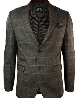 Mens-Check-Vintage-Herringbone-Tweed-Tan-Brown-Blazer-Jacket-Fitted-0