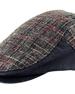 Mens-Cotton-Country-Tweed-Check-Faux-Leather-Flat-Cap-Golf-Baker-Boy-Navy-Blue-0