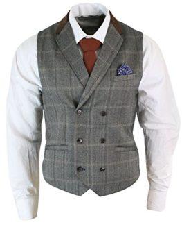 Mens-Double-Breasted-Herringbone-Tweed-Peaky-Blinders-Vintage-Check-Waistcoat-0