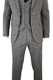 Mens-Grey-3-Piece-Herringbone-Tweed-Suit-Vintage-Retro-Slim-Fit-Smart-Formal-0